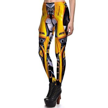 PEAPON New 3831 Sexy Girl Mecha Iron Man Golden Camera Cosplay Printed Elastic Fitness Polyester Workout Women Leggings Pants Plus Size