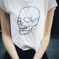 ELIN SKULL EMBROIDERY TOP