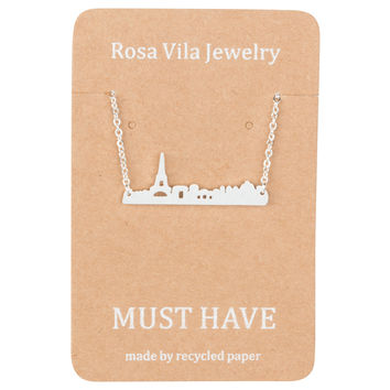 Paris City Skyline Necklace with Eiffel Tower