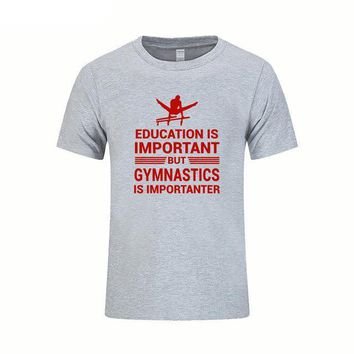 "Men's Gymnastics T-Shirt ""Education Important But Gymnastics is Importanter"" Gray with Red"