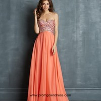 2014 Watermelon Red Sweetheart Beaded Prom Dress with Empire Chiffon Style VMNT002,2014 Prom Dresses
