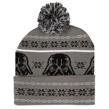 Star Wars Darth Vader Fair Isle Pattern Licensed Adult Beanie Hat - Grey/Black