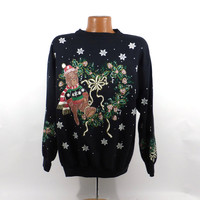 Ugly Christmas Sweater Vintage Sweatshirt Santa Party Xmas Tacky Holiday size L