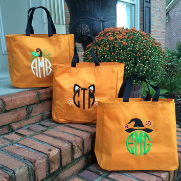 monogrammed halloween trick or treat orange tote bag choose from 3 designs cat pumpkin witch