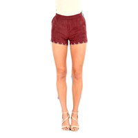 Faux Suede Scalloped Short, Wine