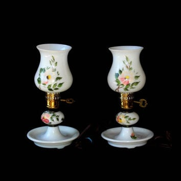 Pair of Milk Glass Vintage Vanity Lamps with Dish Base , 2 Dresser Lamps , Small White Boudoir Lamps with Handpainted Florals , Small Lamps