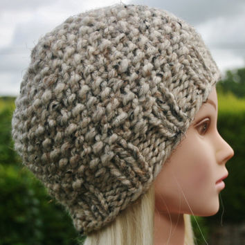 Hand Knit hat- Women's hat-  Beanie hat- Cream- Oatmeal tweed- winter hat- Rustic Mega Chunky with wool- women accessories