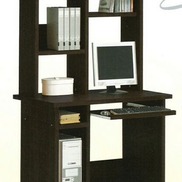 A.M.B. Furniture & Design :: Office Furniture :: Desks :: Espresso finish wood computer desk and hutch with slide out keyboard tray