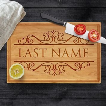 Personalized Cutting Board, Last Name - Engraved Gifts for Parents Natural Wood Cutting Board, Wedding, Christmas Housewarming