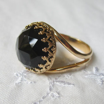 Black Onyx ring, Gold ring, Black gemstone ring, Birthstone ring, Cocktail ring, 14mm gemstone, Vintage inspired ring,  Statement ring