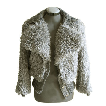 Womans Jacket faux fur designer gray crop outerwear by tratgirl McQueen inspiration