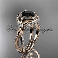 14kt rose gold leaf and vine, flower engagement ring, Black Diamond VD10065