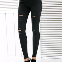 Stretched High Waisted Ripped Leggings
