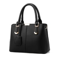 Women Bag Big Handbag OL Style Shoulder Bags Casual Zipper Messenger Bags PU Leather Tote Pendant Purse Satchel Sac
