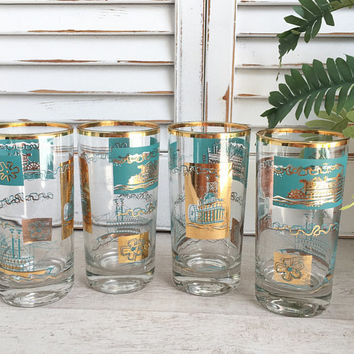 Southern Comfort Glasses by Libbey, Vintage Libbey Glasses - Lovely Aqua and Gold, Riverboat Barware, Libbey Highball Glasses