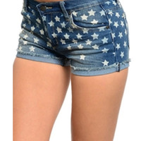 Star Print USA Denim Jean Shorts