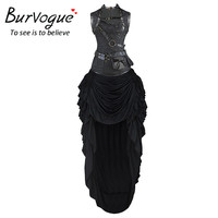 Burvogue Women Steampunk Corset Dress Costume Sets Gothic Overbust Slimming Steel Boned Waist Cincher and Waist Trainer Corselet