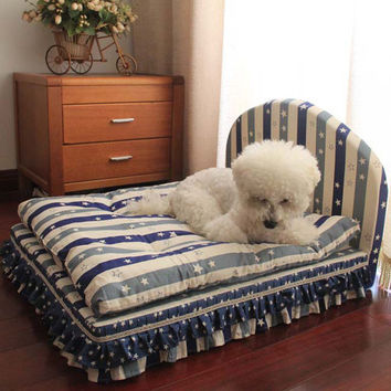 dog beds for medium dogs small bed house set pet cat luxury Princess sofa Bed kennel for chihuahua (Pet bed + pillow + blanket)