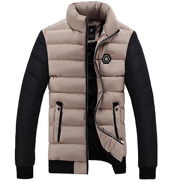 New winter jacket Men thicker Parkas Fashion two color Design Stand Collar cotton warm jackets & coats for men's clothing