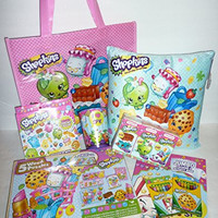 Shopkins 9-piece Bundle: Mini Pillow, Wooden Puzzle 5-Pack, Coloring Book, Crayons, Sticker Kit, Tissues, Cup, Tote Bag
