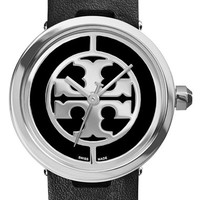 Women's Tory Burch 'Reva' Logo Dial Leather Strap Watch, 28mm - Black/ Silver