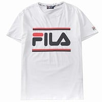 FILA 2019 new street fashion men and women sports casual half sleeve t-shirt white