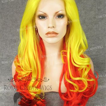 """26"""" Heat Safe Synthetic Lace Front in Curly Texture """"Calypso"""" in Hot Fire"""
