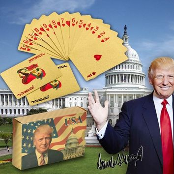 WR Quality Donald Trump Plastic Cards Poker Gold and Silver Poker Set Playing Cards Waterproof Creative Gift Dropshiping 2018