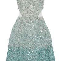 Ombre Ocean Blue Embroidered Strapless Dress by Monique Lhuillier - Moda Operandi