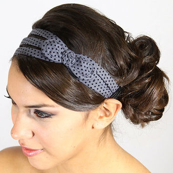 fabric bow headband, grey polka dot fabric, hair accessories