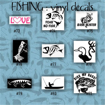 FISHING vinyl decals - 73-81 - vinyl sticker - fish - fisherman - decal - stickers - custom decal - car sticker - vinyl decal - car decal