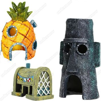 Mini For SpongeBob & Squidward House Style Pineapple Cartoon House Home Fish Tank Aquarium Ornament Decorations Escape Hole