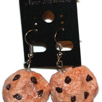 Polymer Clay Fake Food Chocolate Chip Cookie Earrings