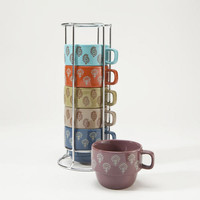 Block Print Stacking Mugs, Set of 6