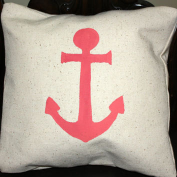 Nautical Anchor Pillow Cover, Handpainted in Coral or Black Anchor 12x12, #anchor #nautical #ocean #beach #endless #summer #shore #Navy