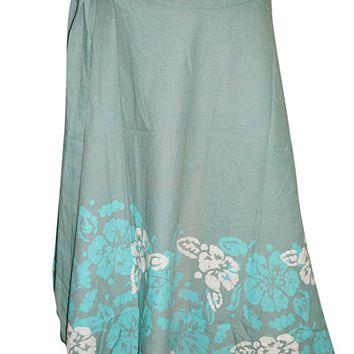 Womens Wrap Around Skirt Hippie Green Floral Printed Long Wrap Skirts
