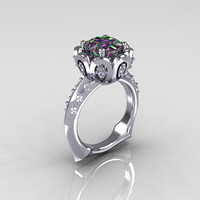 Classic 14K White Gold 30 Carat Mystic Topaz Diamond by artmasters
