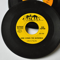 "1960s Batman 45 Record - ""The Battiest Car Around"" (BT97A) and ""Here Comes the Batmobile"" (BT97B)."