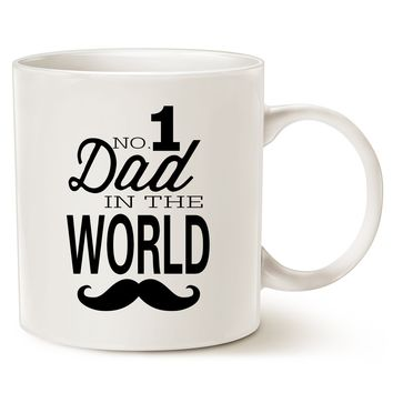 Funny Mustache Dad Coffee Mug Father's Day Day Gifts - NO.1 Dad in The World - Best Birthday Gifts for Dad, Father Ceramic Cup White, 14 Oz by LaTazas