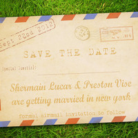 DIY Printable - Vintage Classic Retro Old Fashioned Airmail Blue Red Customizable Save The Date Card