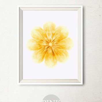 Printable art Yellow Flower art print, Fall printable art, Bedroom decor, Fall wall art, Yellow flower print, Autumn art print, Yellow art