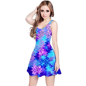 Blue and Purple Marble Waves Reversible Sleeveless Dresses