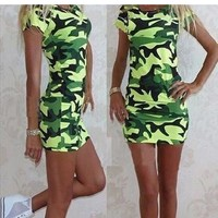 New Women Green Camouflage Pattern Semicircular Streetwear Polyester Mini Dress