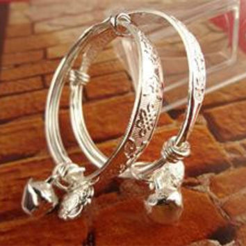 1Pair Silver Baby Bangle Bracelet Newborn Infant Gift Chinese Style Classic Lucky Bangle Jewelry For Baby Girls