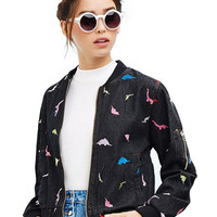 Long Sleeves Animal Embroidered Denim Jacket In Black