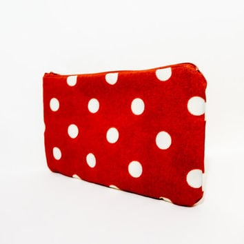 Large Zipper Pouch, Polka Dot Pouch, Fabric Pouch, Cosmetic Bag, Toiletry Bag, Polka Dot Clutch, Autumn Bag, Pumpkin Dot Pouch, Dot Pouch