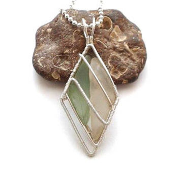 Wire Wrapped Green and Clear Seaglass Pendant, Sea Glass Jewelry, Beach Glass Necklace, Unique Gift Idea For Birthday, Sea Ocean Jewelry