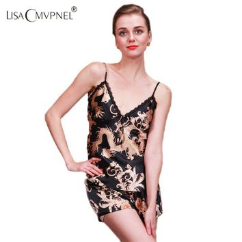 Lisacmvpnel Women's sleepwear twinset summer spaghetti strap pajamas faux silk women's lounge sleepwear lace pajama set
