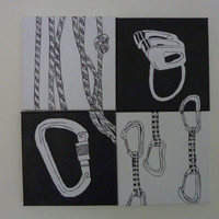 Sport climbing gear - 4 canvas picture of carabiner, belay device, rope and quickdraws