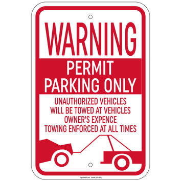 """Warning Permit Parking Only Unauthorized Vehicles Towed Sign 12""""x18"""" Signs Retail Store"""